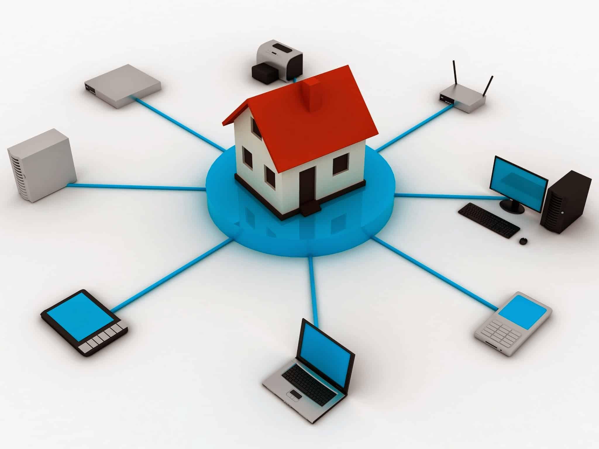 Maison connectée et raccordée au réseau électrique